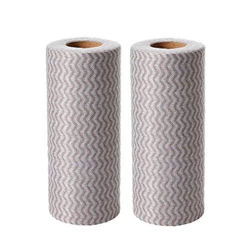 BESTONZON 100 stücke Einweg Reinigungstücher Handtücher Geschirrtücher Spültücher Putztücher Vliesstoffe Tücher für Küche 2 Rollen (Gry)