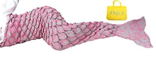 Yier® Meerjungfrau-Endstück-Decken-Häkelarbeit für erwachsene Teens Jugendliche Wohnzimmer-Schlafzimmer-Sofa-super weiche Skalen-Decken Schlafsäcke-Pfirsich (Weiche Decken Für Teens)