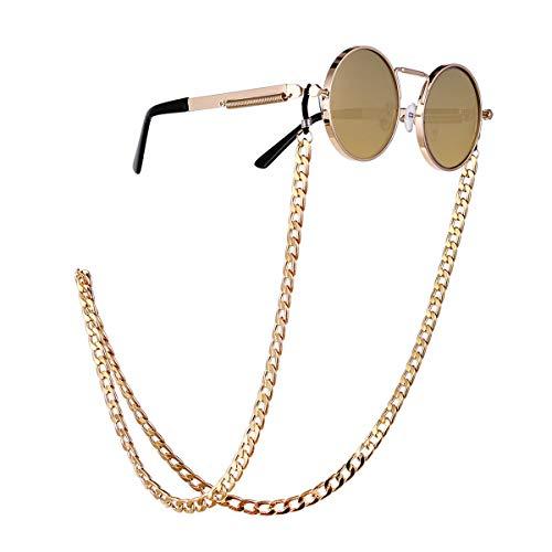 Trisee ✔ Sonnenbrille, Unisex Sonnenbrille Mode Sonnenbrille Vintage Brillengläser Gurt Sonnenbrille mit Kette Perlen Schnur Hängende Gläser Runde UV-Schutz Brillen