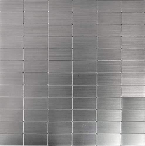 Aluminium Mosaik (Mosaik Fliese selbstklebend Aluminium silber metall Rechteck metall für WAND KÜCHE FLIESENSPIEGEL THEKENVERKLEIDUNG Mosaikmatte Mosaikplatte)