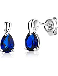 Miore Ladies 9ct White Gold Pear shape Sapphire Earrings MG9229E