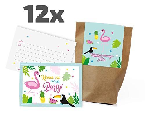12 Flamingo Tropical Einladungskarten/Partytüten Set zum Kindergeburtstag / Mitgebseltüten / Geschenktüten / Give-aways / Geburtstagseinladungen / Einladungen / Geburtstag / Kinder / Jungen / Mädchen