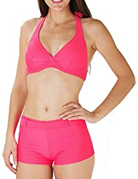 Maillot de Bain Femme 2 pièces Bikini Balconnet Shorty