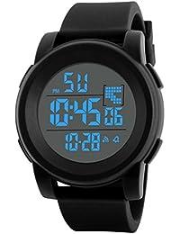 Reloj niño digital Relojes estudiantiles Reloj analógico digital impermeable deportivo LED para hombre reloj niño deportivo relojes deportivos hombre ❤️ Amlaiworld (Negro)