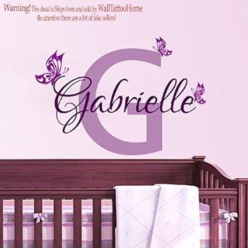 happygoluck1y Personalisierte Namen Initialen Schmetterling Wand Aufkleber Vinyl für Teen Mädchen Schlafzimmer Decor Baby Dusche Wandaufkleber