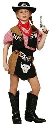 W3164-116 schwarz-braun Kinder Cowgirl Kostüm Rodeo Lady Gr.116