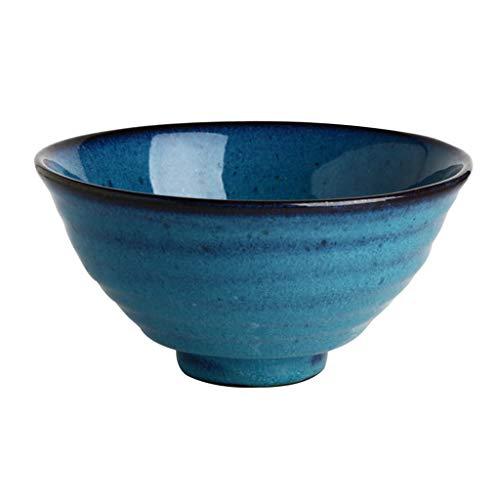 Keramik-Nudelschüssel Europäischen Stil Restaurant Dish Bowl Obstschale Salatschüssel Blaue Runde Haushaltsutensilien (Color : Blue, Size : 18.5 * 9.2CM) -