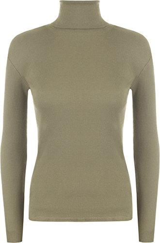 WearAll - Dames En côté Extensible Col roulé Top - Hauts - Femme - Tailles 36 - 42 Moka