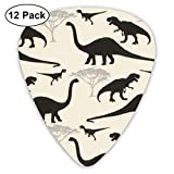 Comic Dinosaurs Classic Colorful Guitar Picks Plectrums for Electric Guitar, Acoustic Guitar, Mandolin, and Bass - 12 Pack