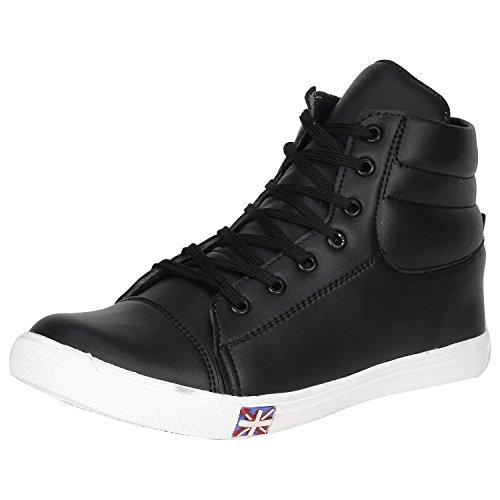 Kraasa Men's White Faux Leather Sneakers,size : 9, color : Blacks