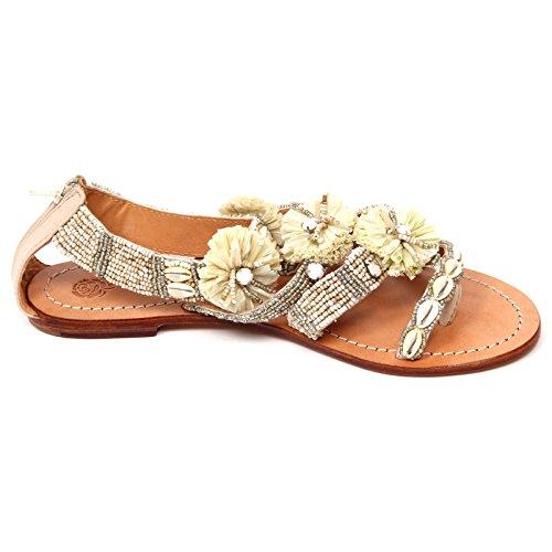D0706 sandalo donna MALIPARMI POM POM BEADS infradito beige shoe woman Beige
