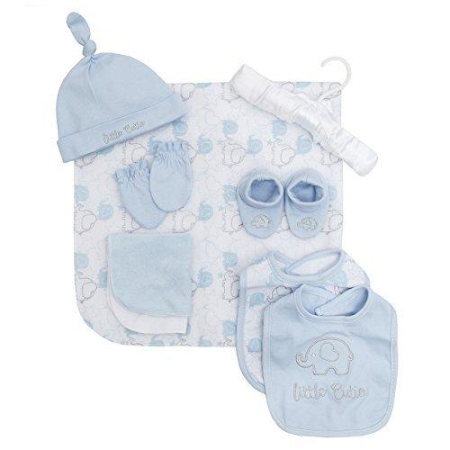 Babys 9 Piece Geschenk eingepackt Set rosa oder blau Baby Essentials Set ideal Geschenk - Blau, Einheitsgröße