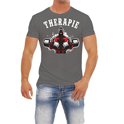 Männer und Herren FITNESS T-Shirt TK021 Grey