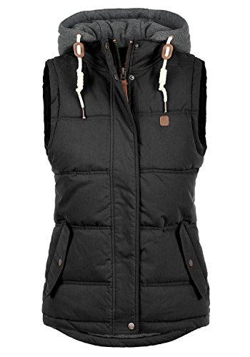 DESIRES Lewonda Damen Weste Steppweste Outdoor Weste mit Kapuze und Stehkragen, Größe:L, Farbe:Black (9000)