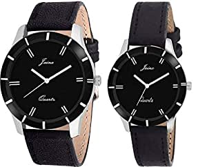 JAINX Analogue Black Dial Men's & Women's Couple Watch -Jc424