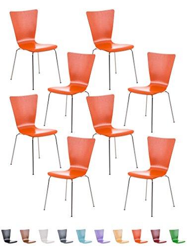 CLP Lot de 8 Chaises en Empilables Robustes AARON, Chaises Empilables en Bois avec Dossier, Chaise Visiteur avec Siège Ergonomique et Confortable, Charge Max. 120 kg, Hauteur Assise 45 cm, 10 Couleurs au choix: orange