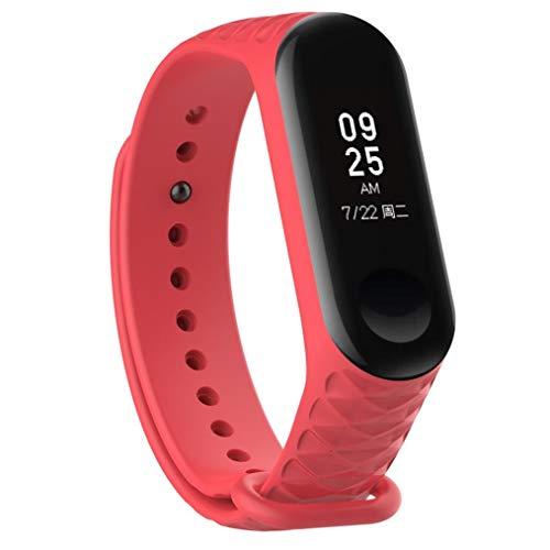 Bestow XiaoMi Mi Band 3 Patr¨®n TPU Smart Reloj de Pulsera Correa de Reloj Reloj Inteligente Electronics Gadgets Reloj de Pulsera (Rojo01)