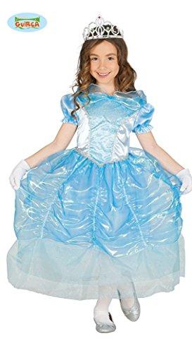 Guirca Prinzessin Kostüm für Mädchen Karneval Märchen Eis Blau Königin Ball Kleid Gr. 98-134, Größe:128/134 (Eis Prinzessin Kleid)