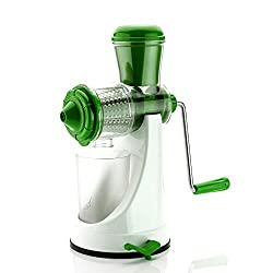 Cierie Twincolor Fruit & Vegetable Manual Juicer Mixer Grinder With Steel Handle Polypropylene Hand Juicer, Green-White