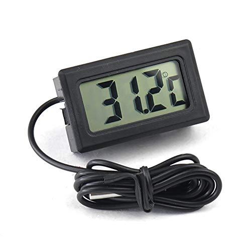 Vektenxi Digitalanzeige LCD Thermometer Temperaturmonitor Aquarium Thermometer mit wasserdichter externer Sonde für Kühlschrank Aquarium Schwarz