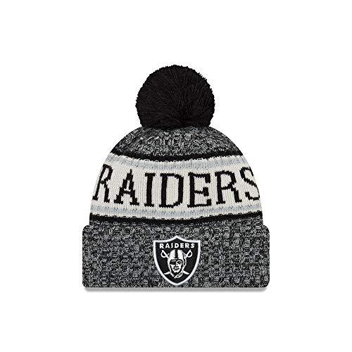 the best attitude 78a87 e1756 New Era Oakland Raiders NFL 18 Sideline Sport Knit Hat Black White Size One  Size
