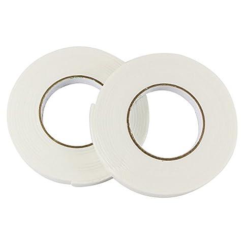UOOOM Lot de 2 pcs Mousse Ruban Adhésive Double Face Double Sided Tape Foam Blanc (2.5mm x 18mm x 4.5m)