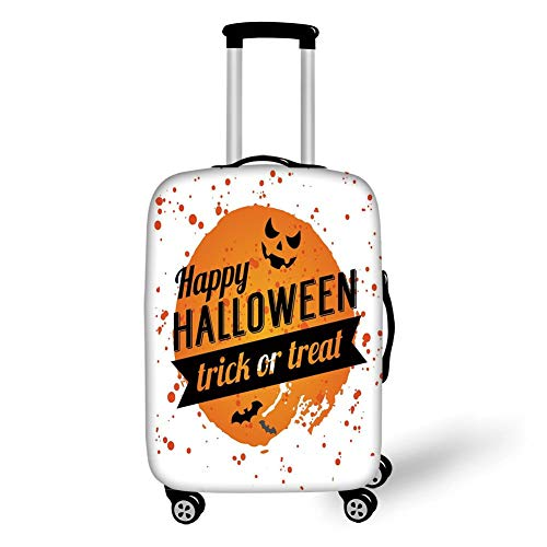 Travel Luggage Cover Suitcase Protector,Halloween,Happy Halloween Trick or Treat Watercolor Stains Drops Pumpkin Face Bats,Orange Black White,for Travel (Halloween-tag Treat Or Trick Happy)