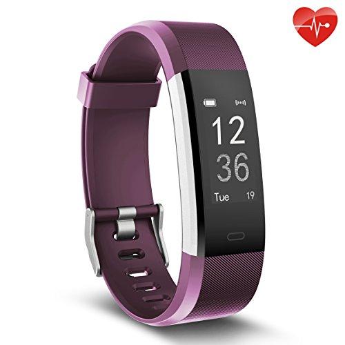 Herzfrequenz-Monitor, moreFit Slim HR Plus wasserdicht Fitness Aktivitäts-Tracker tragbares Smart Armband, Lila