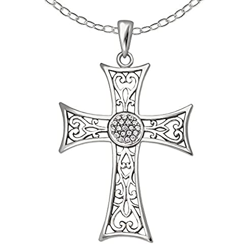 CLEVER SCHMUCK-SET Silberner Anhänger großes Kreuz, antike Optik verschnörkeltes Design, teils offen,mit Zirkonia halbkugel und Kette Anker 60 cm STERLING SILBER 925 rhodiniert