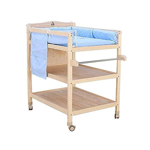 CWJ Small Bed for Look After Baby Without Bending Over,Diaper Changing Tables with Brake Wheel,Wooden Diaper Station Organizer for Infant,Table with Storage Storage Desk,Blue CWJ [Dimension]:86×64×95Cm(1Cm=0.39Inch), Load up 45Kg. Easy Assembly Required. [Stable Structure]:Made of Solid Wood. Four Brake Wheels Makes It Flexible to Move & Stop. a Safety Belt is Equipped on the Cushion for Added Security. [Large Storage Spaces]:Equipped 2 Storage Layers, You Can Place Soaps, Towels and Any Other Accessories Conveniently. 1