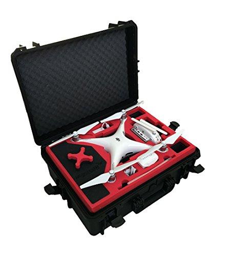 Valise professionnelle / Malette de transport de drones approprié pour DJI Phantom 4 et avec beaucoup d'espace pour 6 batteries.