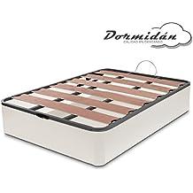 Dormidán - Canapé abatible Oferta, gran capacidad esquinas redondeada, tapa somier con lamas vaporizadas y tacos de polietileno (150 x 190 cm, Blanco)