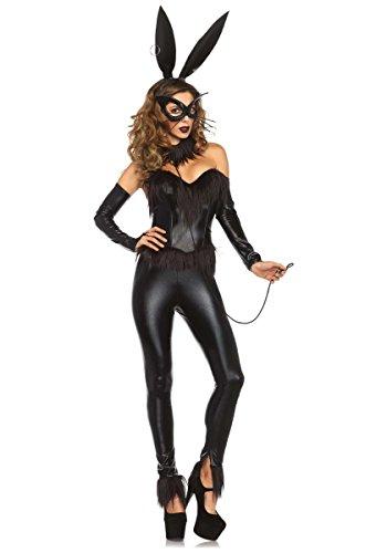 Bondage-Häschen-Halloween-Kostüm von Leg Avenue Lackleder Häschen-Mädchen-Kostüme Tier Cosplay (Large)