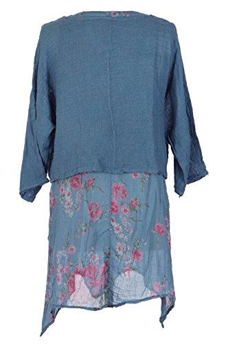Damen Womens italienischen Lagenlook schrulligen Schichtung floralen Kleid nur Achselzucken Twin Set Kleid One Size UK 10-14 Cornflower Blau