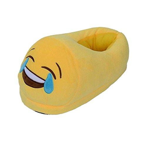 Unisex Plüsch Hausschuhe -LATH.PIN Emoji Lustige Kostüm Pantoffeln aus Fleece Tears with Joy Face