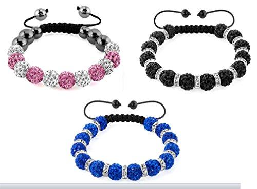 AccessCube Set von 3Unisex Kristall Shamballa Armband Armreifen Herren Damen Shamballa Perlen Armband Manschette, Mixed 6