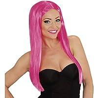 Capelli lunghi finti di carnevale Parrucca sexy donna rosa Capelli