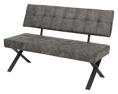 Sitzbank DonnaI mit Lehne, Bezug Softex Vintageoptik Braun, X-Metallgestell Anthrazit, 140x61x93 cm -