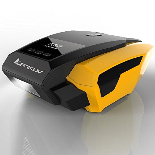 Auto Luftpumpe, Jocund Elektrischer Kompressor Tragbare Auto Reifenpumpe mit LED-Licht und Digital-Manometer 3 Ventiladapter mit 12V DC Zigarettenanzünder