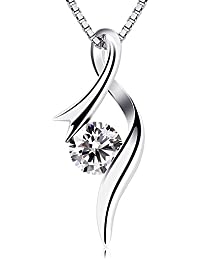 BCatcher Necklaces 925 Sterling Silver Pendant Necklaces Cubic Zirconia Twist Heart Jewellery