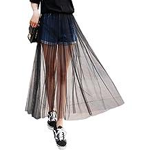 2e7b8a716c0f ABBY Femme Jupe en Tulle Taille Haute Longue Jupon sans Doublure en  Polyester Jupe Noir Transparente