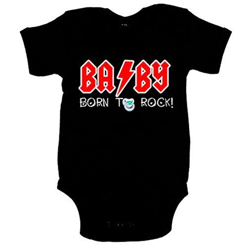 Body bebé Born to Rock bebé nacido para rockear - Negro, 6-12 meses