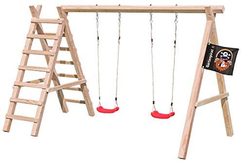 Gartenpirat Schaukelgestell mit Leiter Typ 2.2 Doppelschaukel aus Lärchenholz