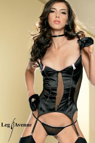 Trim Bustier (Leg Avenue - 2-teilig - Embroidered zipper Trim Bustier, G-String - S - Schwarz/Rosa - 81147)