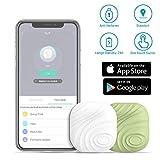 Key Finder - Lost Tracker - Evershop Bluetooth Tracker Localizzatore GPS wallet Phone Key bidirezionale anti-perso allarme promemoria per Phone, Pets, portachiavi, in pelle, luggage (white and green)
