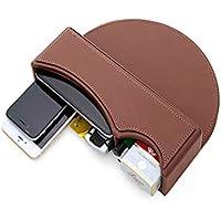GLJY PU-Leder-Autositz-Fänger-Lücke mit iPhone Halter-Füller-Organisator-Seitentaschen-Münzen-Seitentasche, Konsolen-Seitentasche, Auto-Organisator,Brown2,1PCS