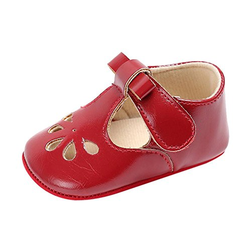 Lederschuhe Babyschuhe Neugeborenen Leder T-Strap Schuhe Kleinkind Prinzessin Party SchuheLauflernschuhe Mädchen Krippeschuhe Krabbelschuhe Wanderschuhe LMMVP (Rot, 11CM (0~6 Monate))