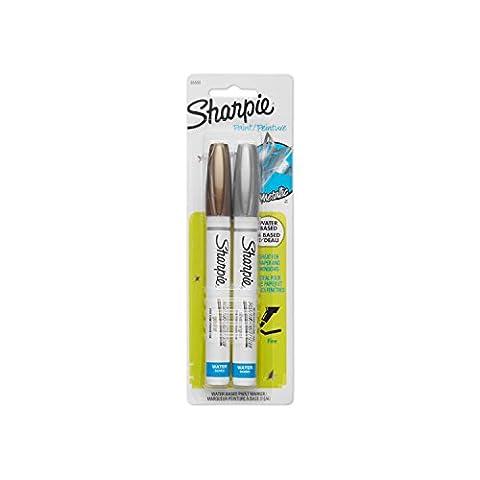 Sharpie 36668PP Water-Based Fine Point Paint Marker, Metallic, 2-Pack by Sharpie