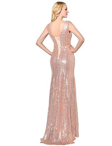 Sarahbridal Glitzer Bodenlang V-Ausschnitt Abendkleider mit Pailletten Partykleider Festkleider SSD351 Königsblau
