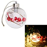 Qiman Weihnachtsbaum LED Klar Ball Licht Lampe Hängende Ornamente Party Outdoor Decor Durchmesser 8 CM Mit Farbwechsel LED Weihnachtskugel (C(5 Lamps,4 Colors)) (A(1 Lamp,Warm))